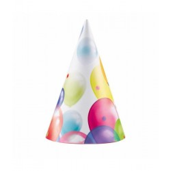 8 party hoedjes balloons