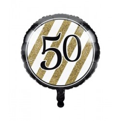 Folieballon 50 black & gold