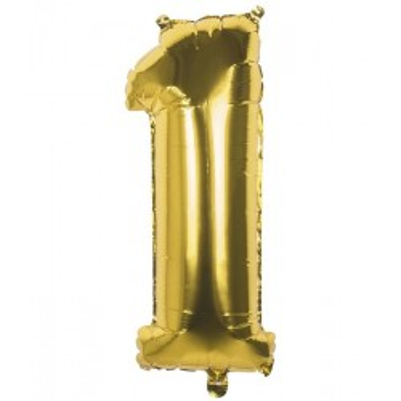 Cijfer ballon 1 folie goud