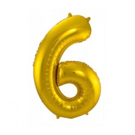 Gouden folieballon cijfer 6
