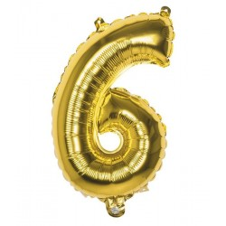 Folieballon cijfer 6 goud