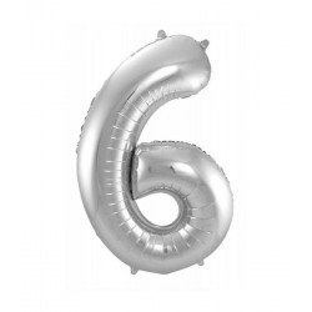 Zilveren folieballon cijfer 6