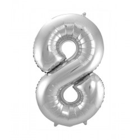 Zilveren folieballon cijfer 8