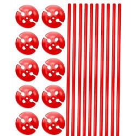 Rode ballonstokjes met houder