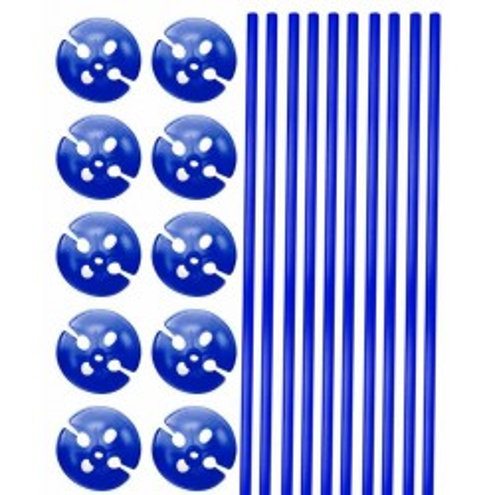 Blauwe ballonstokjes met houder